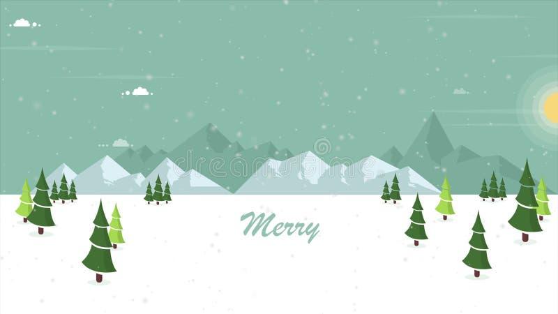 Animazione della neve di secenery sulla collina illustrazione vettoriale
