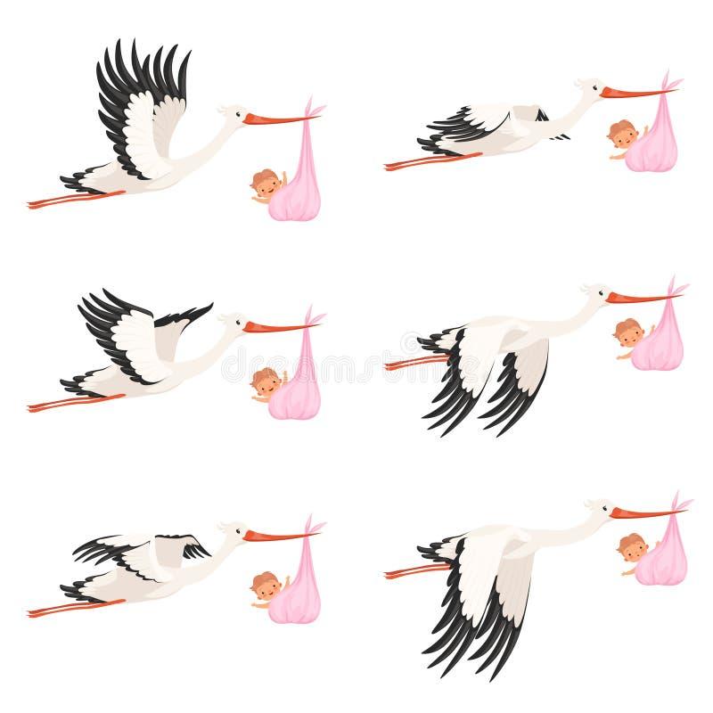 Animazione della struttura della cicogna di volo Il neonato della consegna dell'uccello porta i personaggi dei cartoni animati di illustrazione di stock