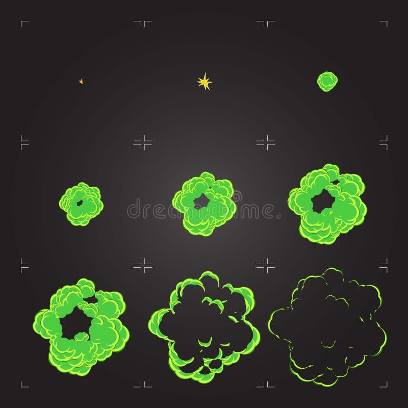 Animazione dello strato di Sprite di esplosione del fumetto di chemicals illustrazione di stock