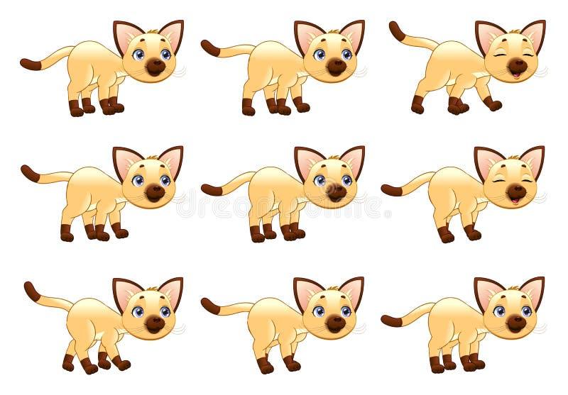 Animazione di camminata del gatto. illustrazione vettoriale