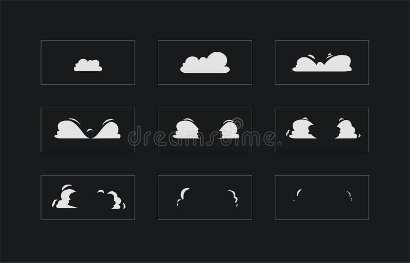 Animazione di esplosione del fumo Animazione del fumo Strato di Sprite per il gioco, il fumetto o l'animazione illustrazione vettoriale