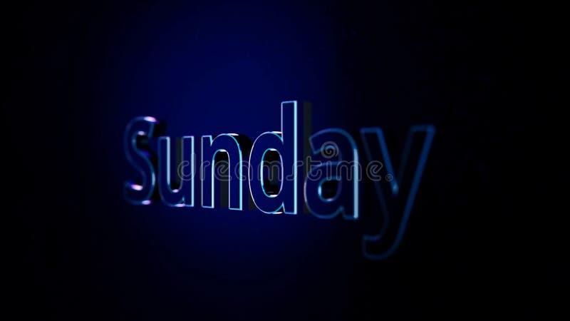 Animazione di parola 3D del testo di domenica su fondo nero Animazione domenica Animazione al computer moderna del giorno libero illustrazione vettoriale