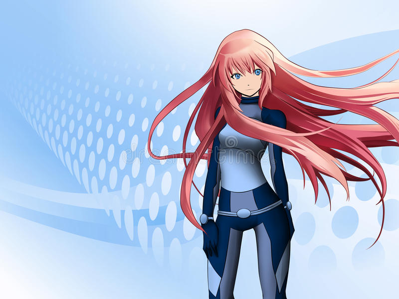 anime φουτουριστικό κορίτσι διανυσματική απεικόνιση