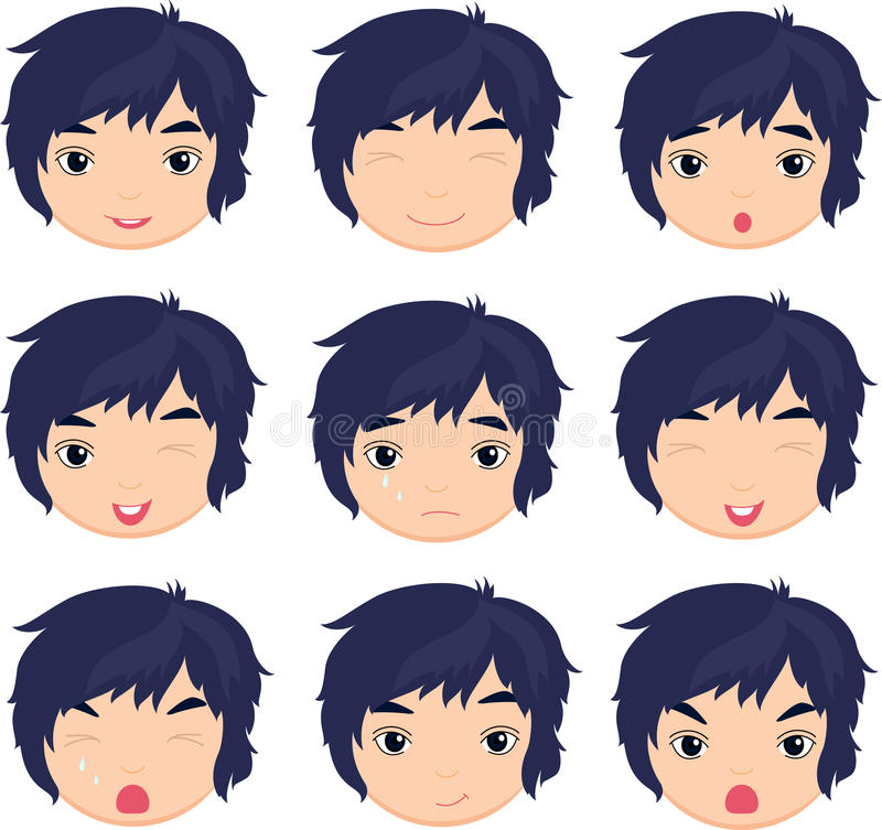 download anime boy emotion stock vector image of head culture 65678571