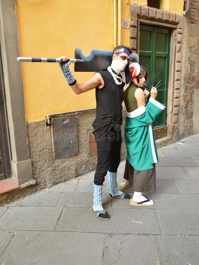 Anime cosplayers at Lucca Comics and Games 2014 stock images