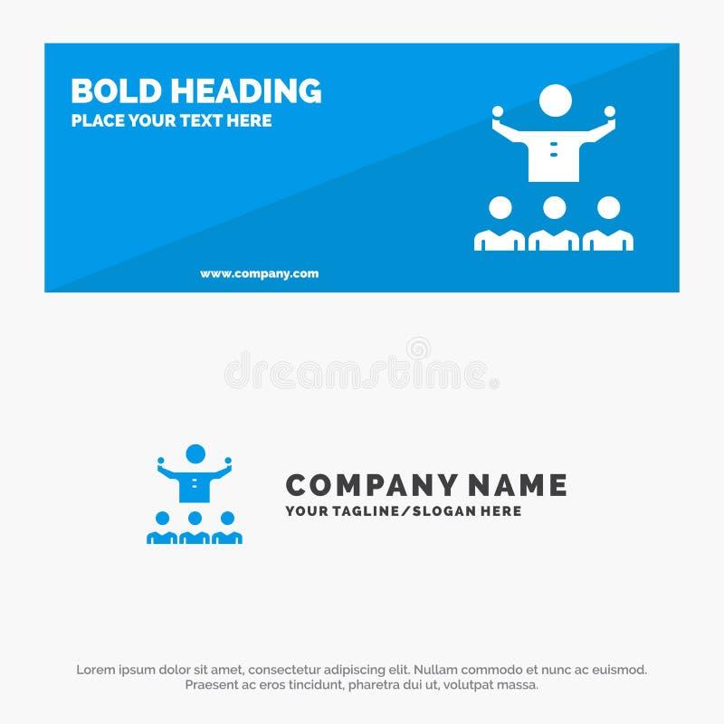 Anime, crecimiento, mentor, Mentorship, bandera sólida y negocio Logo Template de la página web del icono del equipo libre illustration