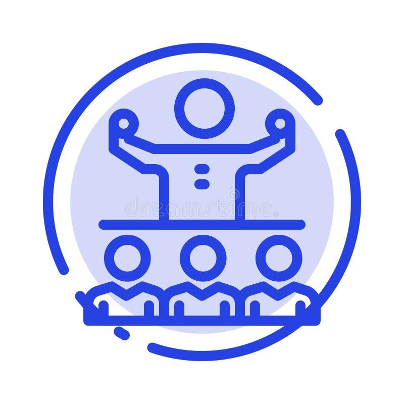 Anime, crecimiento, mentor, Mentorship, icono de Team Blue Dotted Line Line stock de ilustración