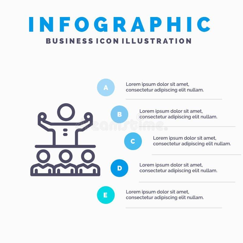 Anime, crecimiento, mentor, Mentorship, icono de Team Line con el fondo del infographics de la presentación de 5 pasos ilustración del vector