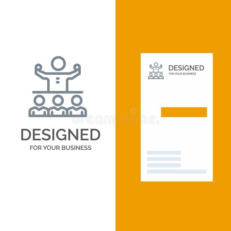 Anime, crecimiento, mentor, Mentorship, Team Grey Logo Design y plantilla de la tarjeta de visita ilustración del vector