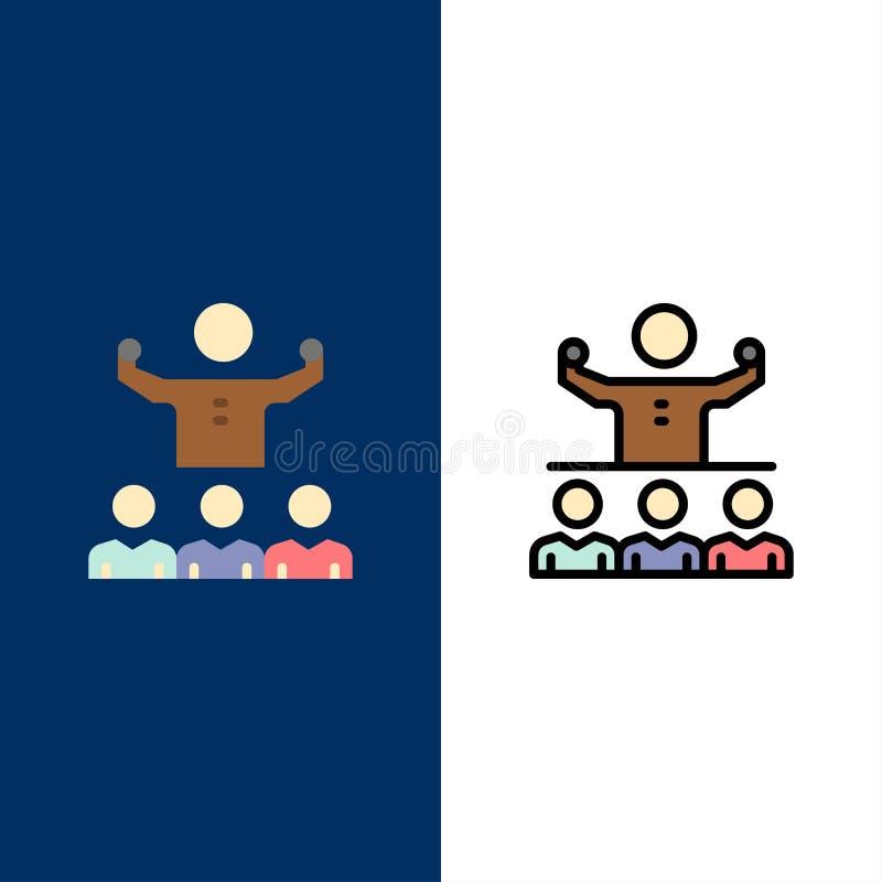 Anime, crecimiento, mentor, Mentorship, Team Icons El plano y la línea icono llenado fijaron el fondo azul del vector stock de ilustración