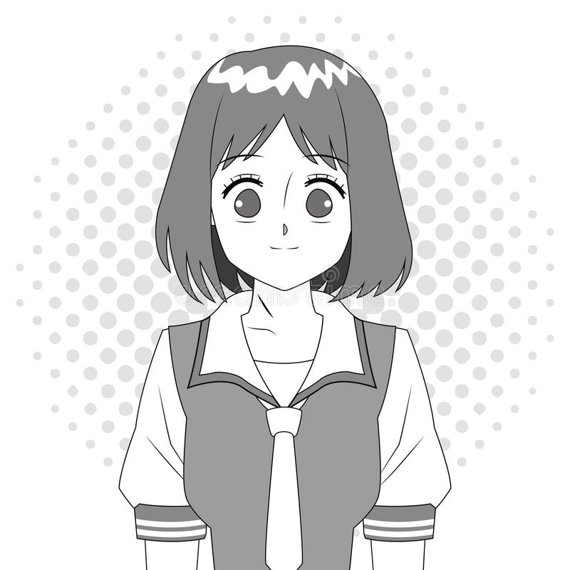 Anime dziewczyny japoński charakter czarny i biały ilustracja wektor