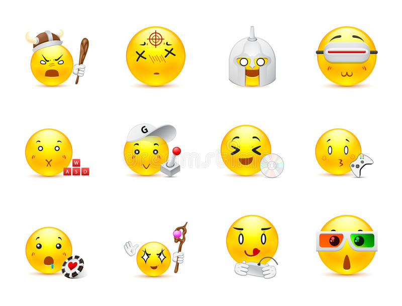Anime emoticons that play. Set of funny and very beautiful anime smiles that play various games vector illustration