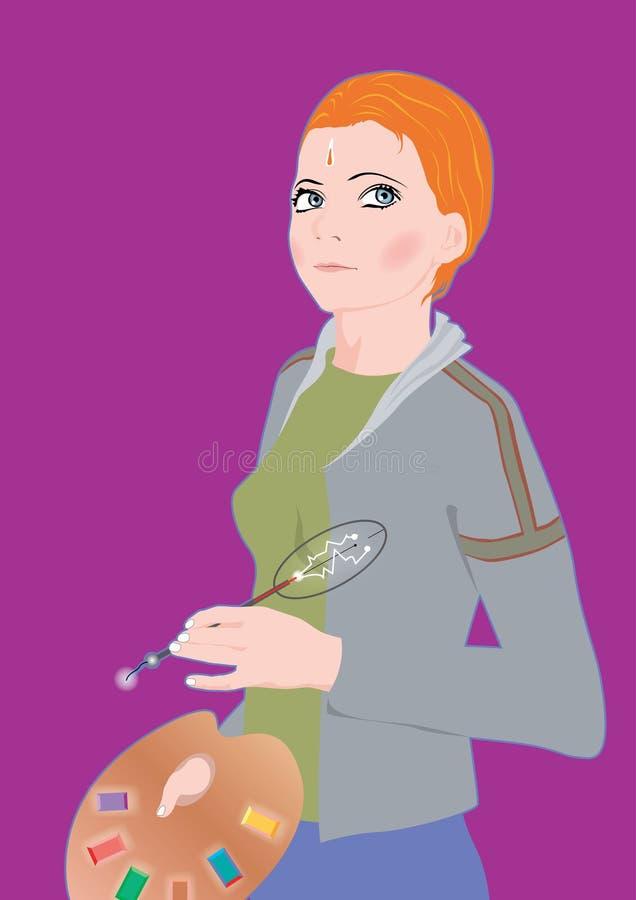 Anime Girl Holding Artist S Palette Royalty Free Stock Images