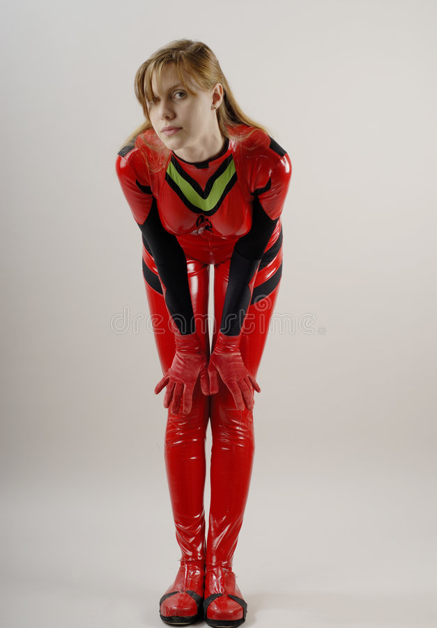 Anime Girl in red costume 2. Anime Girl in red costume with black lines 2 stock images