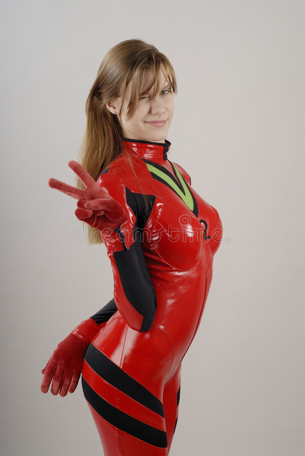Anime Girl in red costume 3 royalty free stock photos