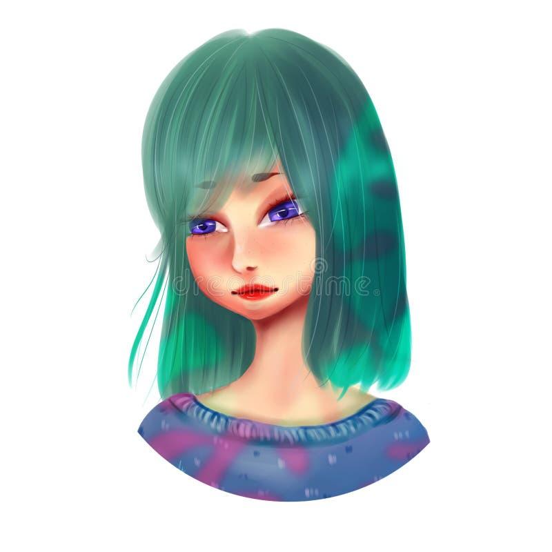 Anime girl in sweater. stock illustration