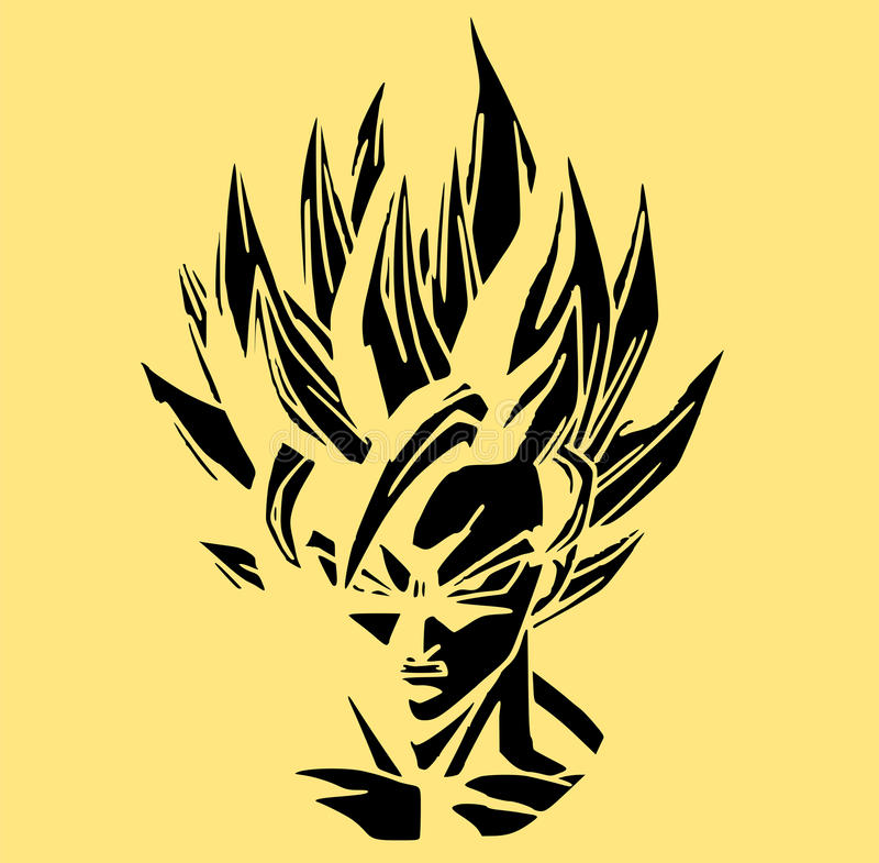 Anime Hero. And yellow background royalty free illustration