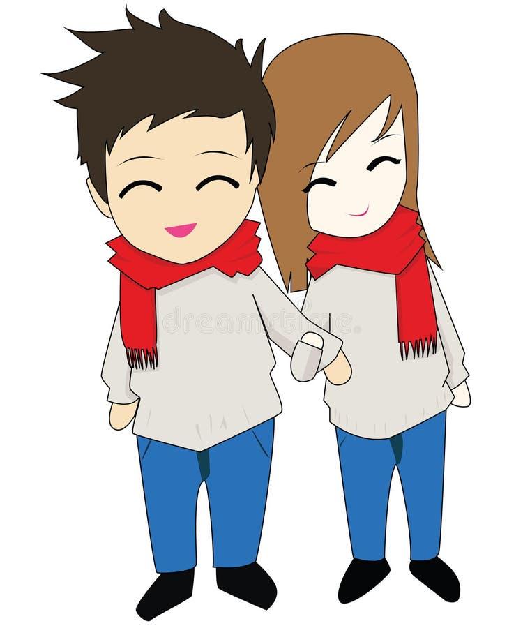 Anime heureux de Chibi de couples image libre de droits