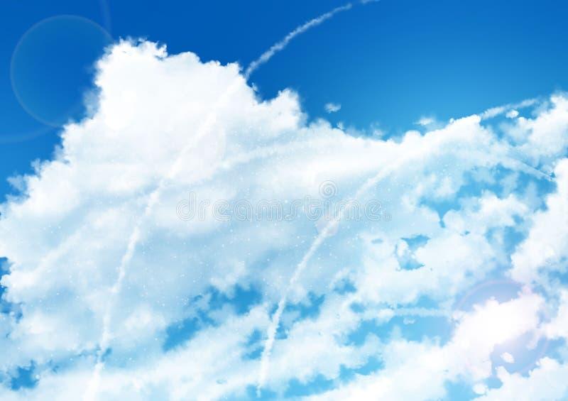 Anime-Himmel-Hintergrund -tägig stockfotos