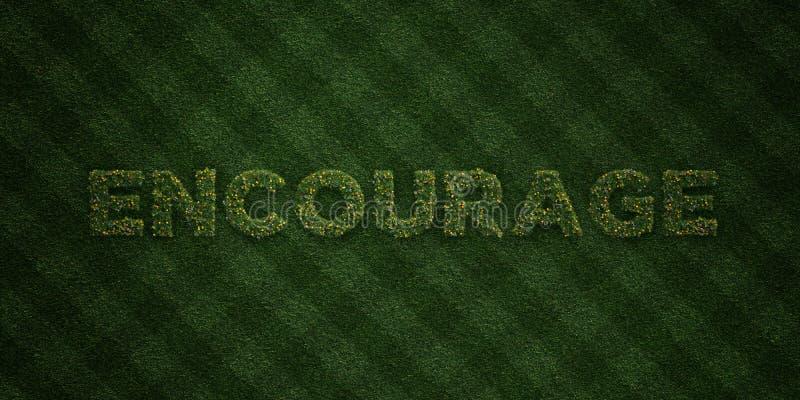 ANIME - letras frescas de la hierba con las flores y los dientes de león - la imagen común libre rendida 3D de los derechos stock de ilustración