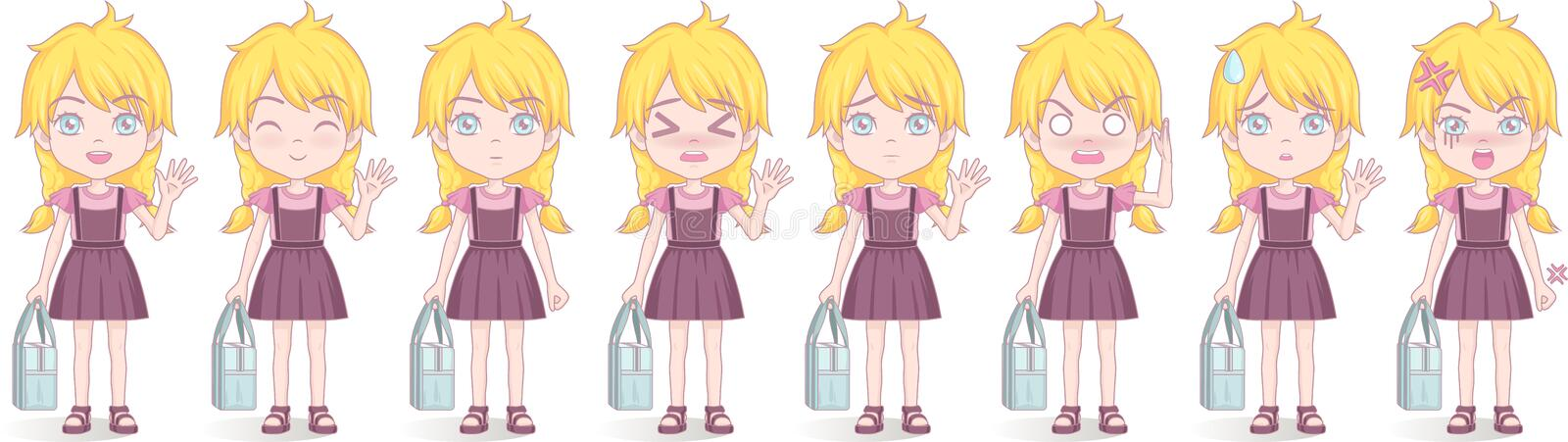 Anime manga girl, Cartoon character in Japanese style. School girl in a violet sundress. Set of emotions. stock illustration