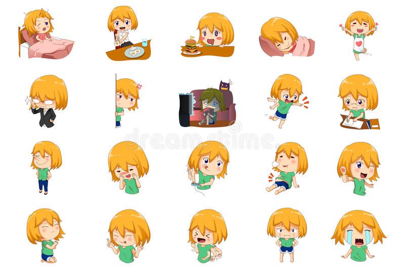Anime Manga Girl Expressions. A vector illustration of Anime Manga Girl doing different activities and different expressions stock illustration
