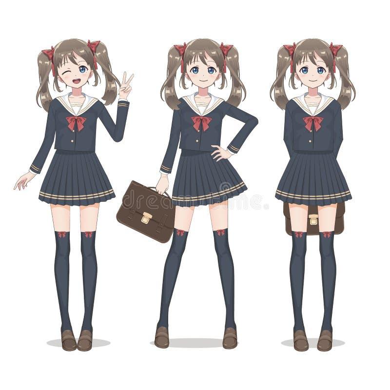 Anime manga Schulmädchen in einem Rock, in den Strümpfen und in der Schultasche vektor abbildung