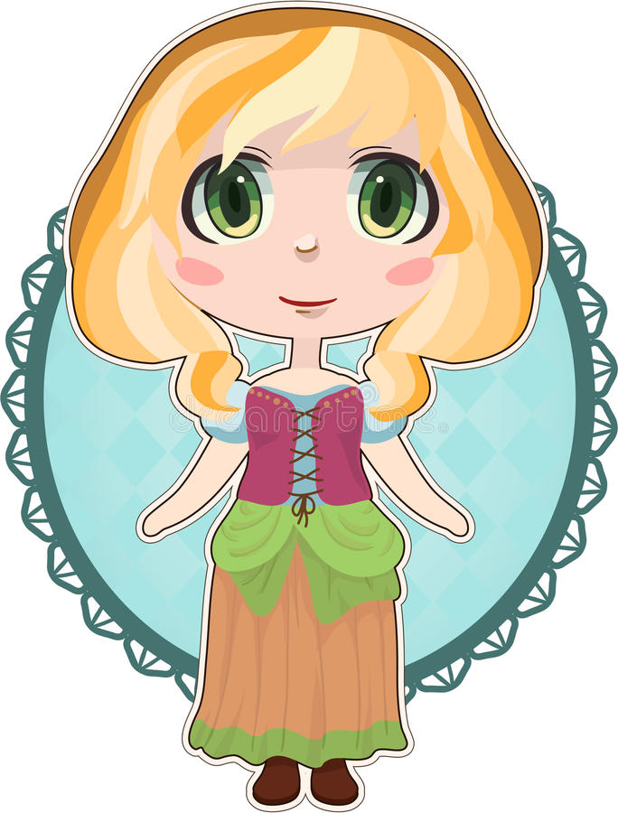 Anime peasant girl stock images