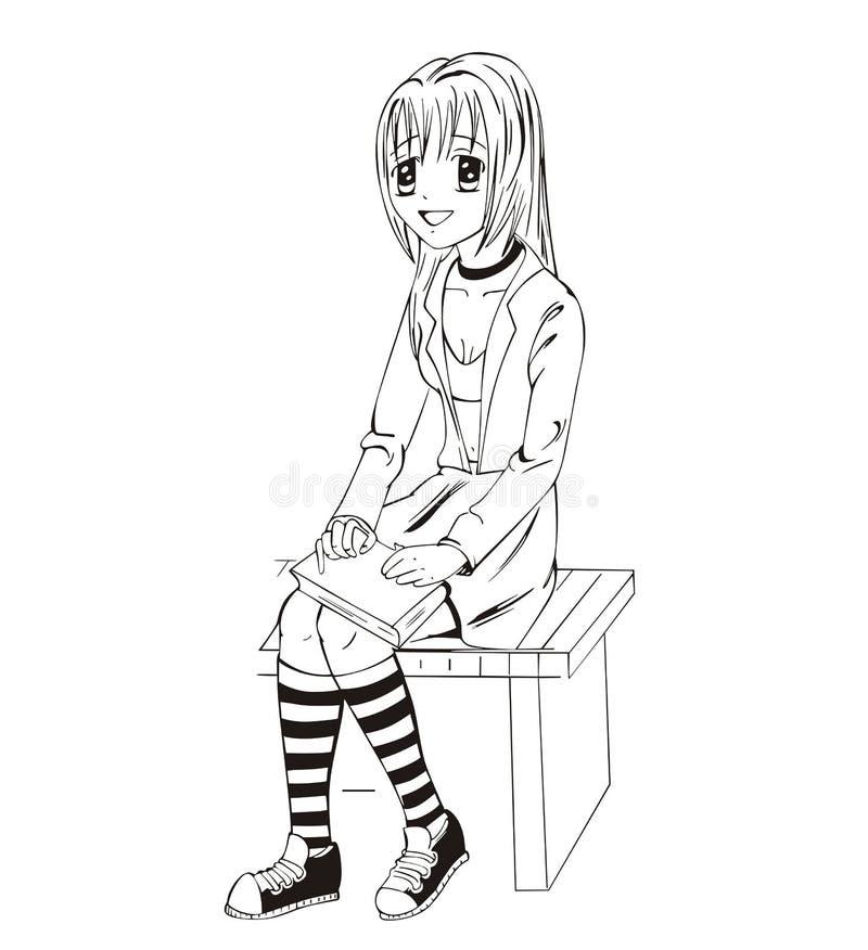 Anime Schoolgirl Stock Image