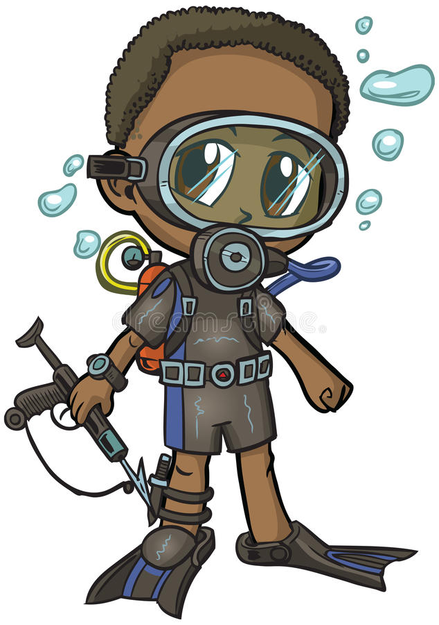 Free Anime Scuba Diver Boy Vector Cartoon Stock Photography - 42993062