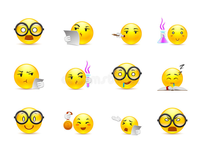 Anime smiles on their studies. Beautiful happy and very smart yellow anime smiley in a small set of stock illustration