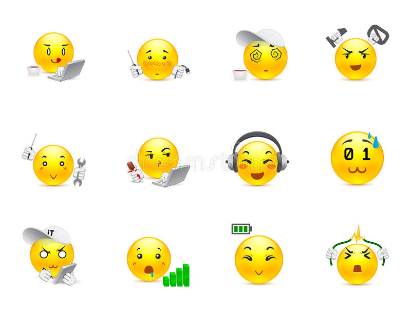 Anime smilies IT system. Funny and beautiful anime smiles on the topic of IT technologies vector illustration