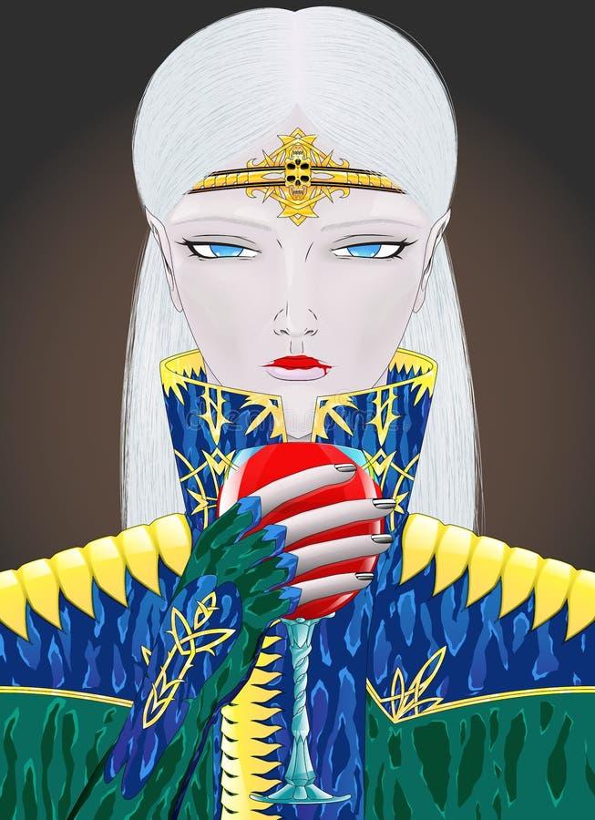 Anime style blonde vampire girl character. On dark background royalty free illustration