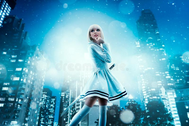 Anime style blonde woman with makeup. Cosplay, japanese culture, doll in dress, cityscape on background stock images