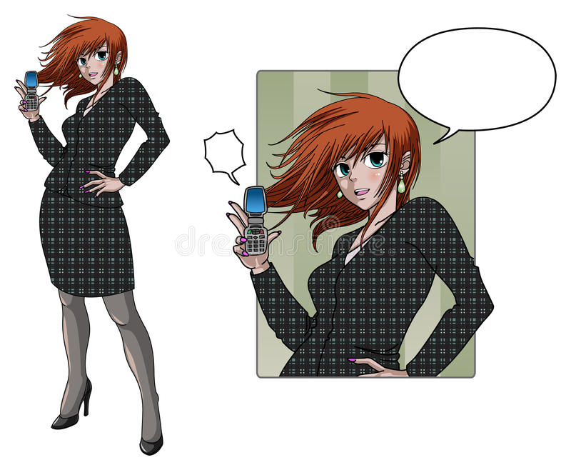 Anime style business woman holding phone. Anime style business woman posing and holding phone royalty free illustration