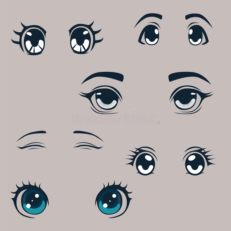Anime style eyes collection royalty free illustration