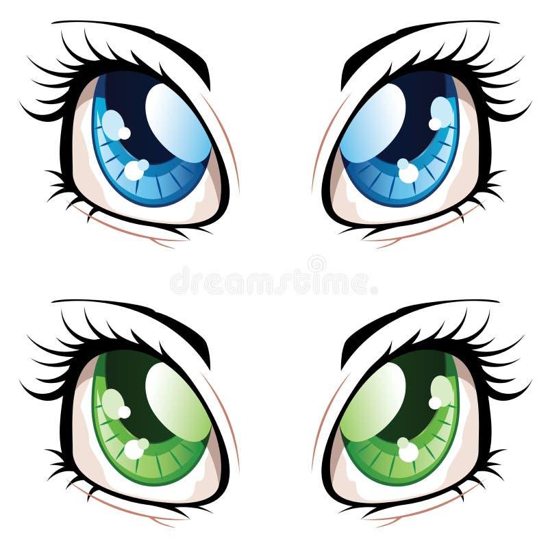Anime Style Eyes. Set of manga, anime style eyes of different colors stock illustration