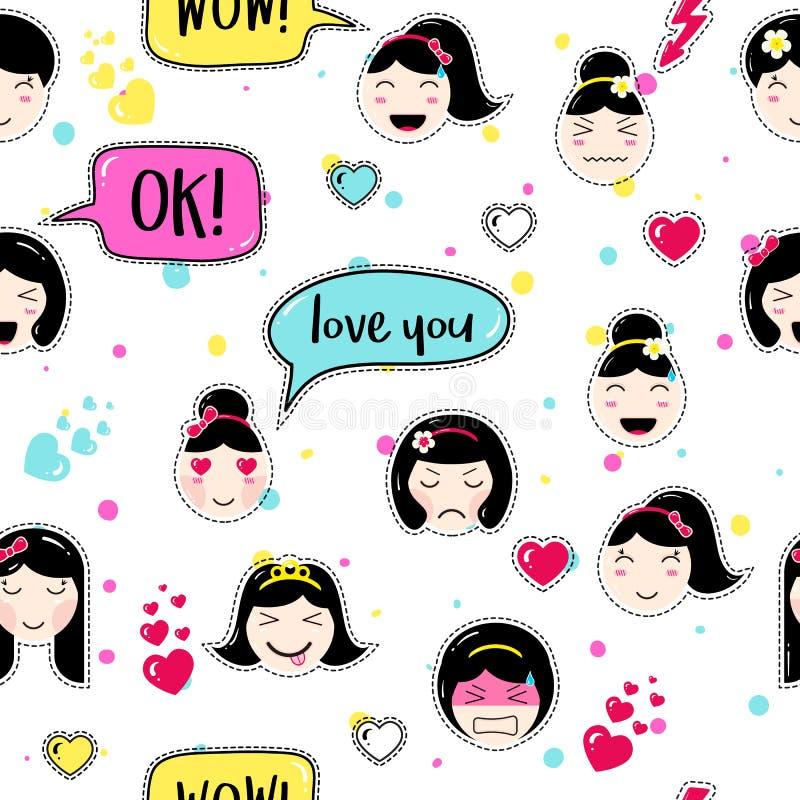 Anime style seamless pattern with cute emoji girls stock illustration