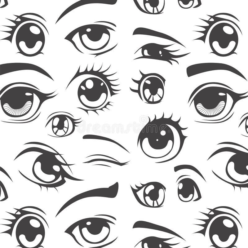 Anime style seamless pattern. Seamless pattern Anime style Eyes vector illustration