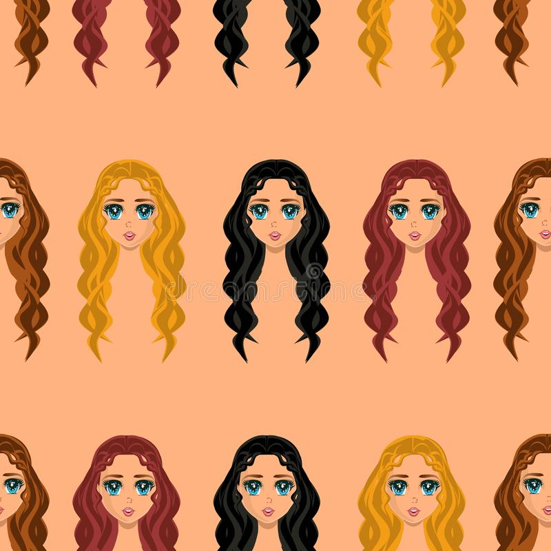Anime style seamless pattern girls with different hair and color wavy loose long hair in beige background. Anime style seamless pattern girls with different hair royalty free illustration