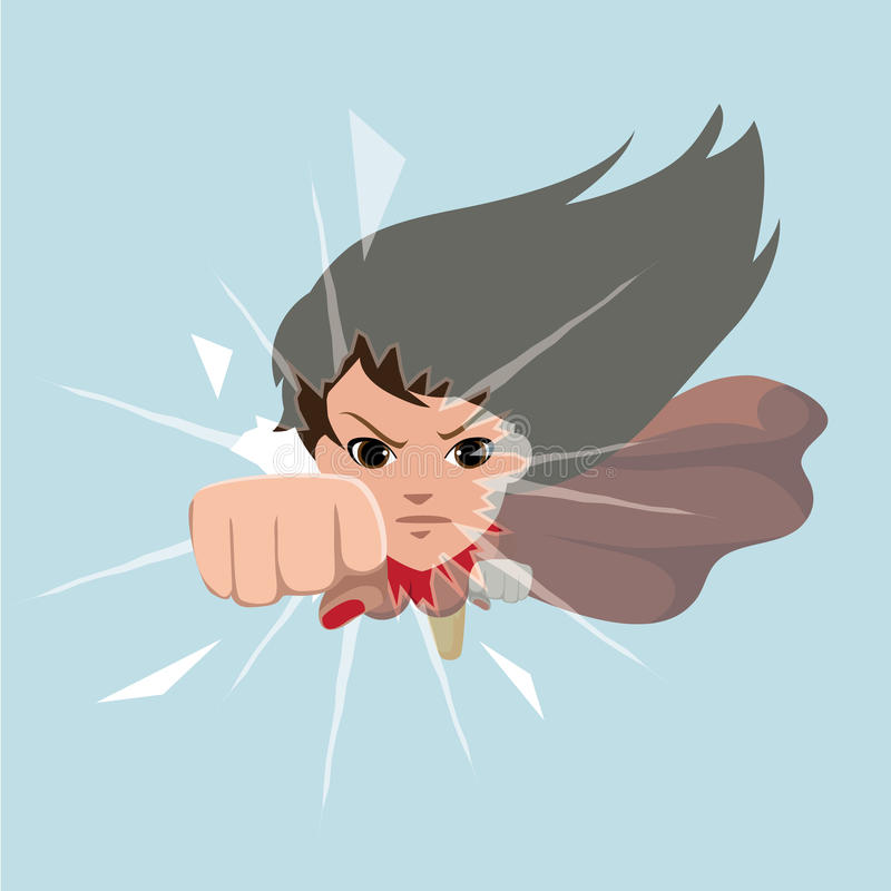 Free Anime Super Woman Smashing Glass Ceiling Royalty Free Stock Image - 67337156