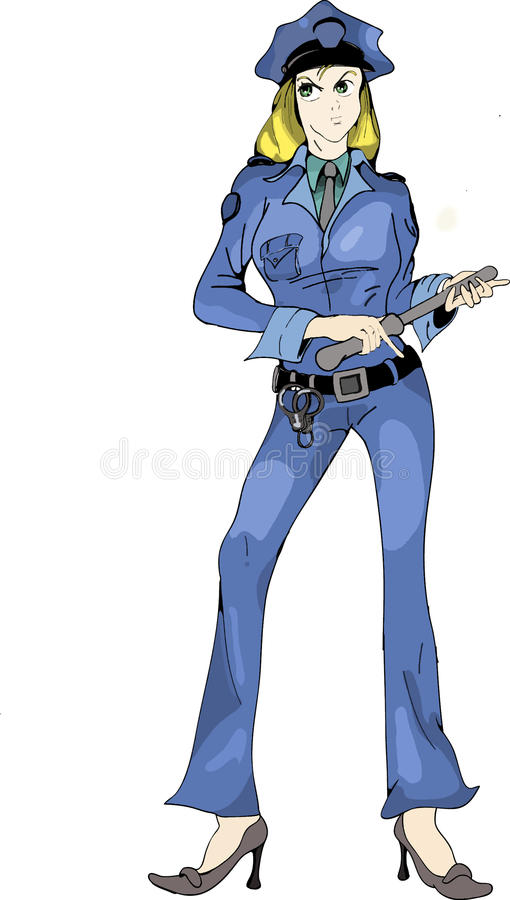 Animeartkarikatur-Frauspindel stockfotos