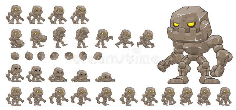 Animeerde Weinig Golem-Karakter Sprites stock illustratie