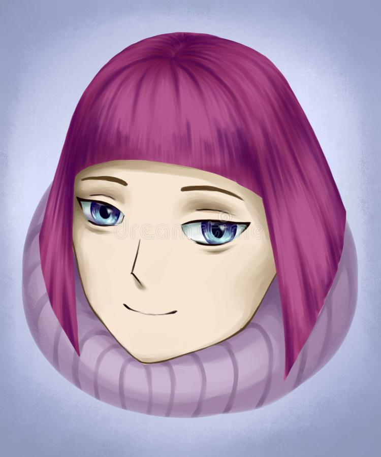 Animeflicka med rosa hår vektor illustrationer