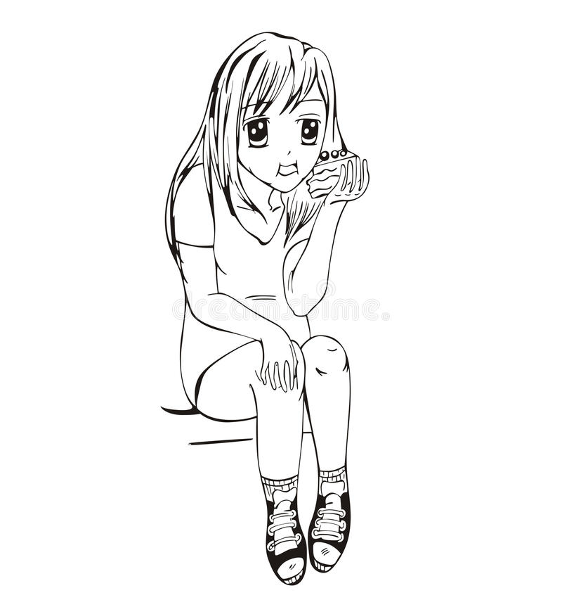 Animeflicka som äter caken royaltyfri illustrationer