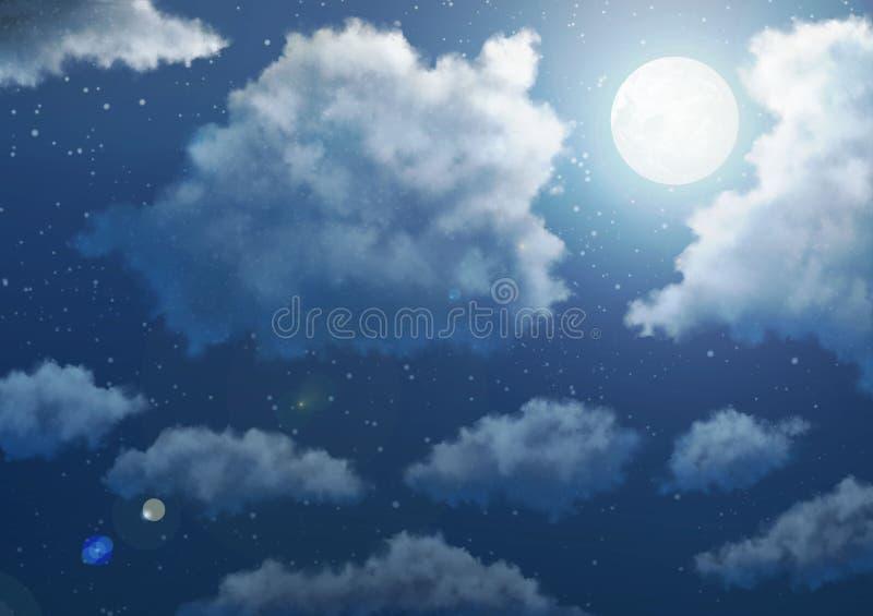 Animehimmelbakgrund - natt arkivbild