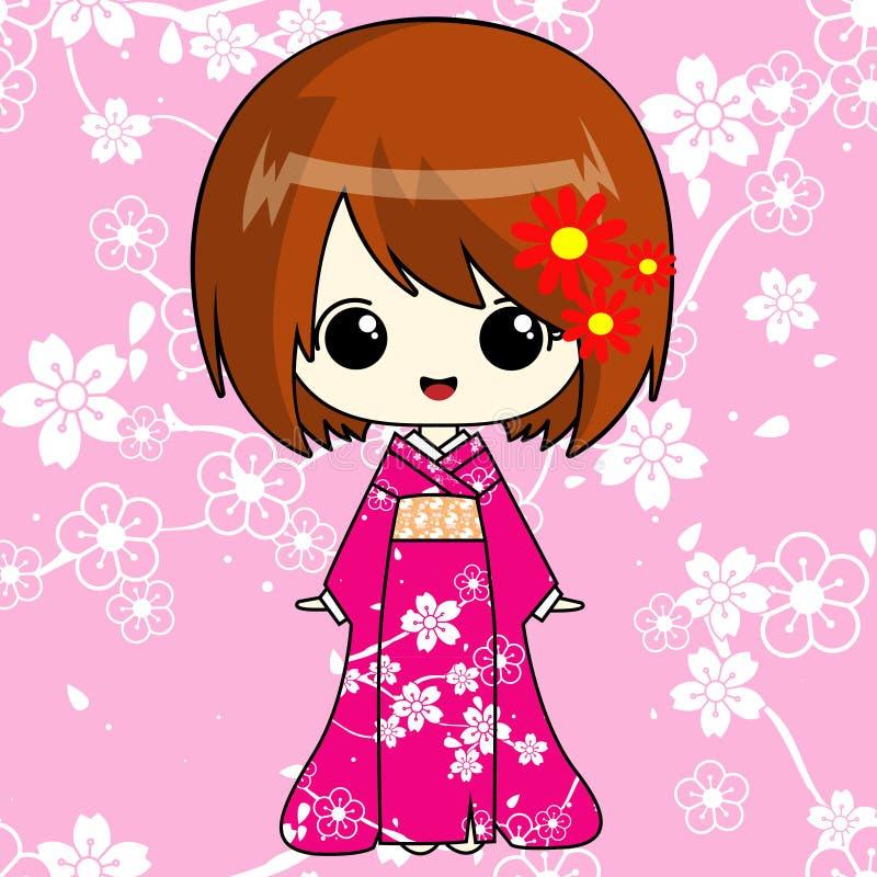 Animemeisje in roze kimono stock foto