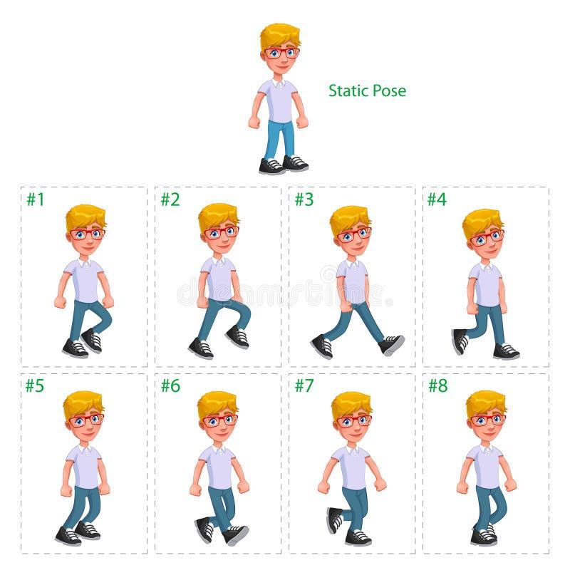 Animering av att gå för pojke royaltyfri illustrationer