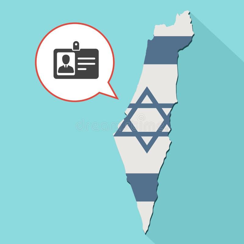 Animering av en lång skuggaIsrael översikt med dess flagga och en komiker vektor illustrationer