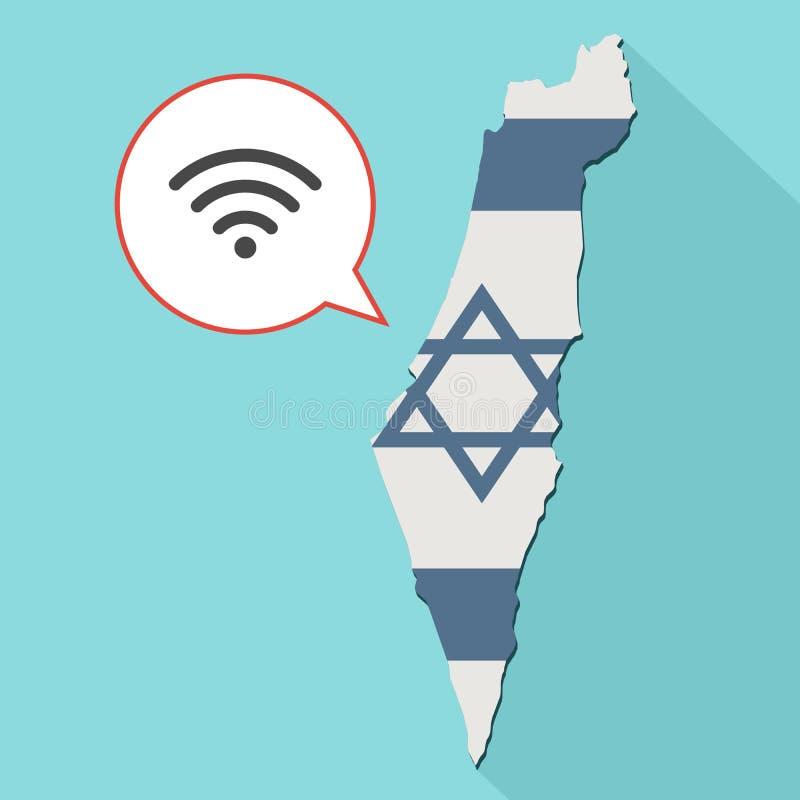 Animering av en lång skuggaIsrael översikt med dess flagga och en komiker stock illustrationer